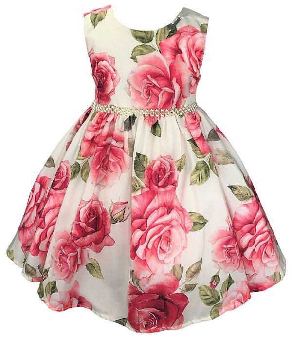 Vestido Infantil Floral Rosas