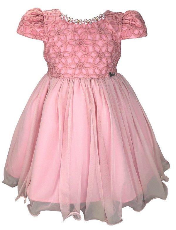Vestido Infantil Rosa com Colar de Pérolas