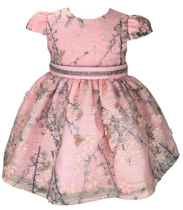 Vestido Bebê Rosa de Renda com Flores