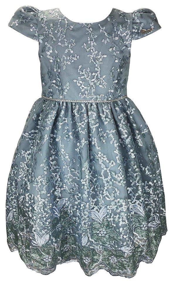 Vestido Juvenil Azul de Renda com Paetê