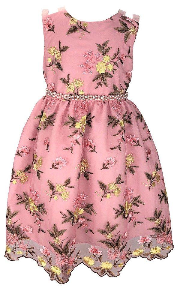 Vestido Juvenil Rosa de Renda com Cinto de Pérolas