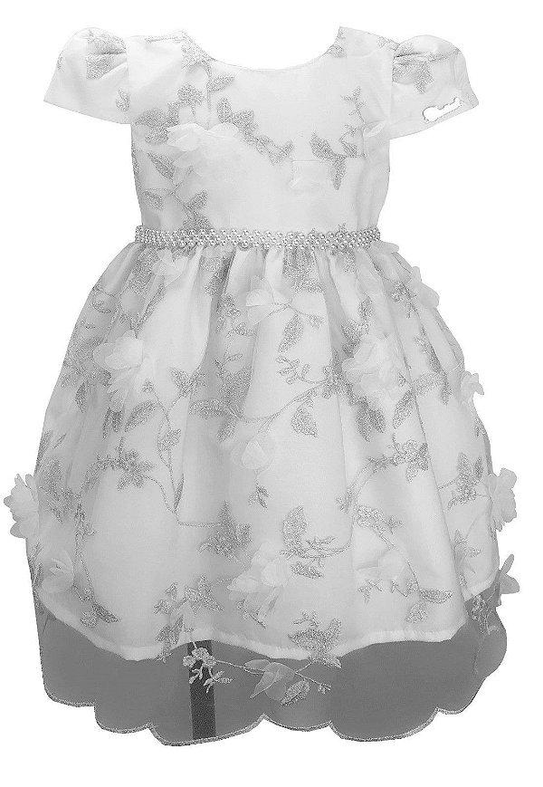 Vestido Infantil Branco de Renda com Flores 3D