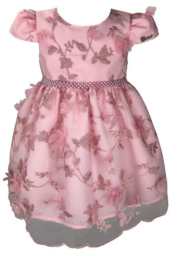 Vestido Infantil Rosa de Renda com Flores 3D