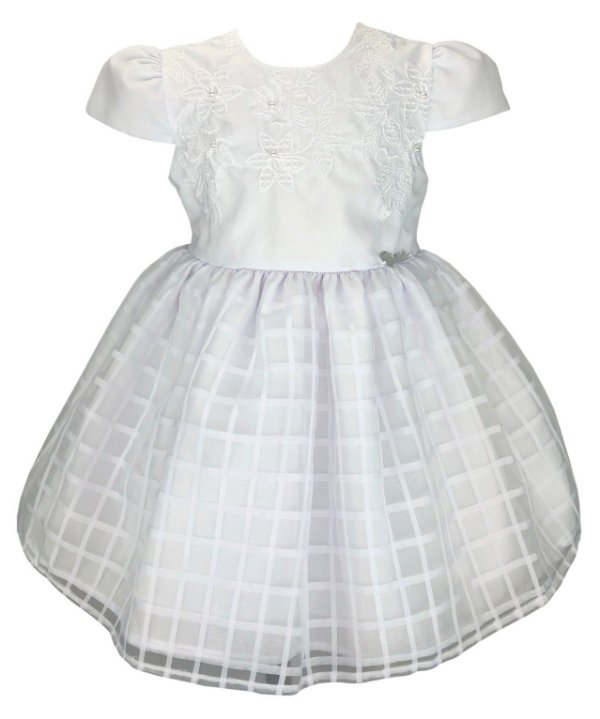 Vestido Bebê Branco Saia Quadriculada