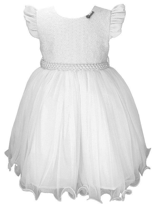 Vestido Infantil Branco e Cinto de Pérolas