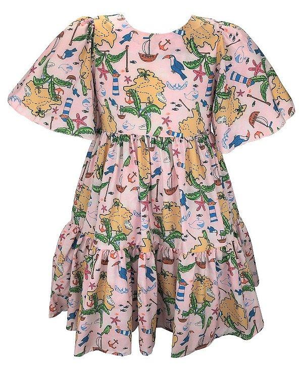 Vestido Teen  Estampa Tropical