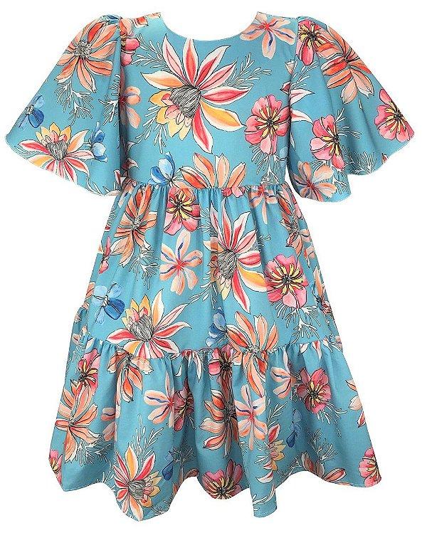 Vestido Teen Azul Turquesa Floral