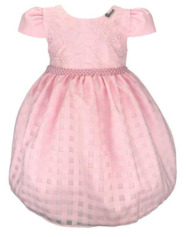 Vestido Infantil Rosa Bordado Borboletas