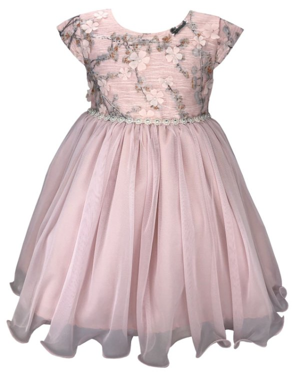 Vestido Infantil Rosa Peito Renda Flores