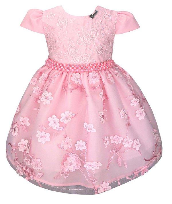 Vestido Bebê Rosa Saia de Renda Floral