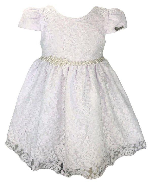 Vestido Infantil Branco Renda e Cinto de Pérolas