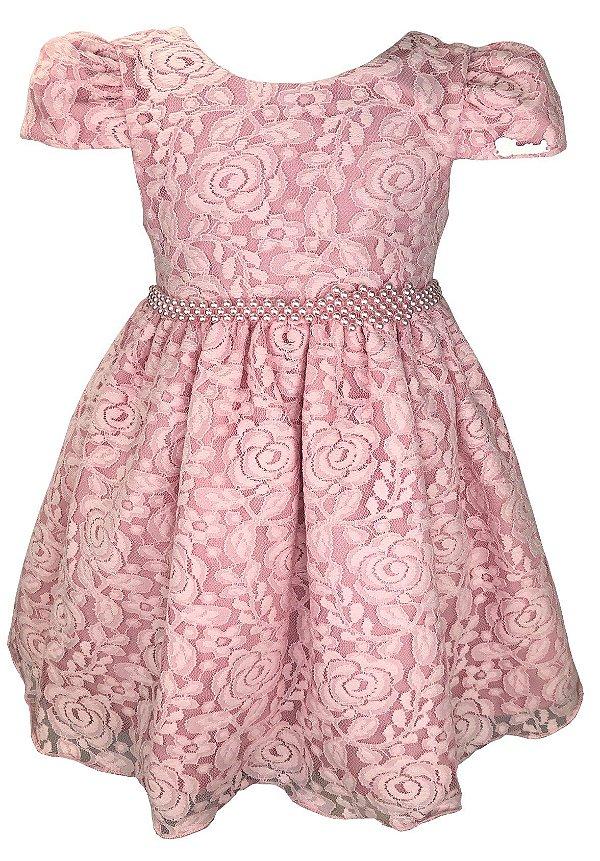 Vestido Infantil Rosa Renda e Cinto de Pérolas