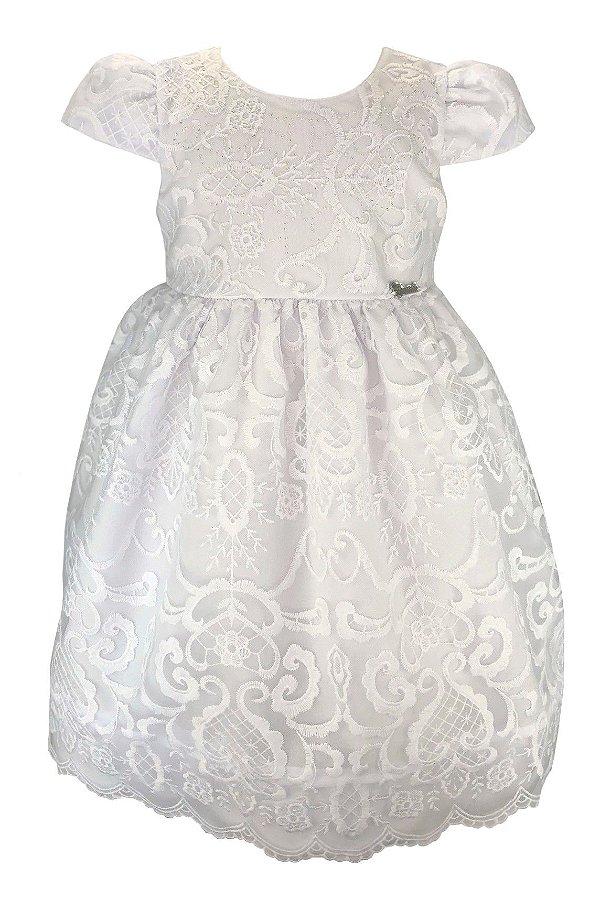 Vestido Infantil Branco de Renda