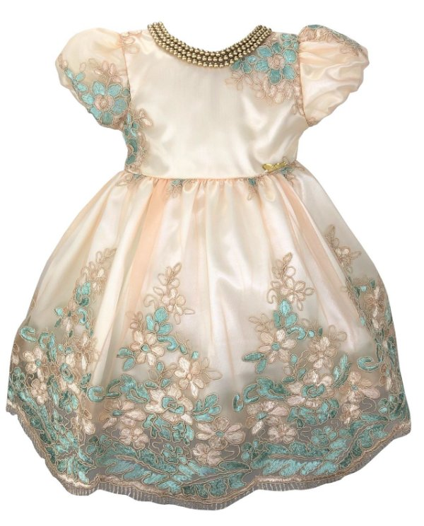 Vestido Bebê de Renda e Colar de Pérolas