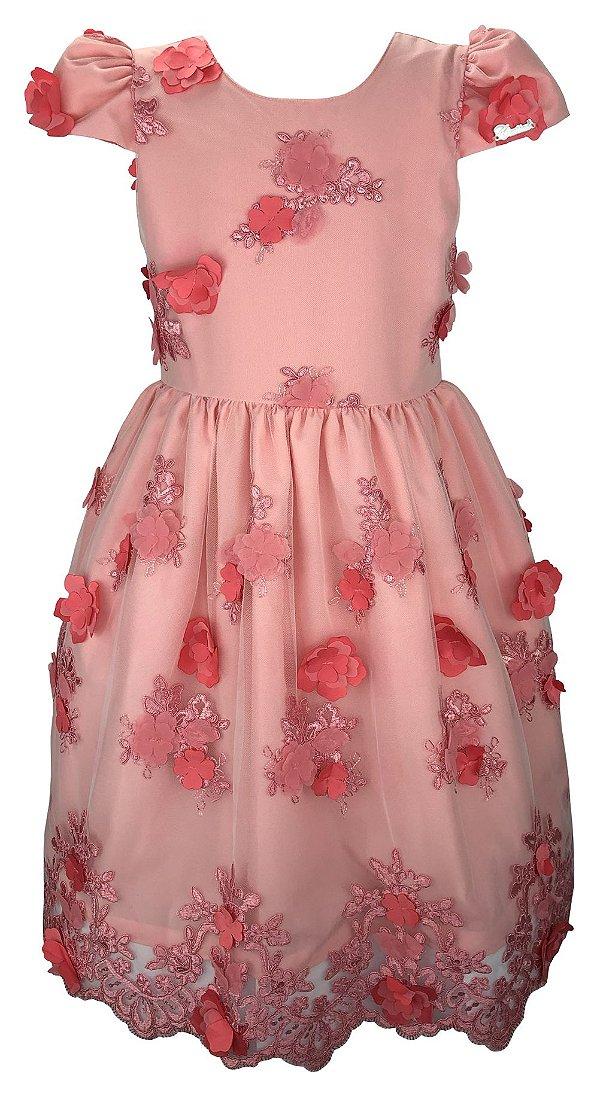 Vestido Juvenil Rose de Renda com Flores