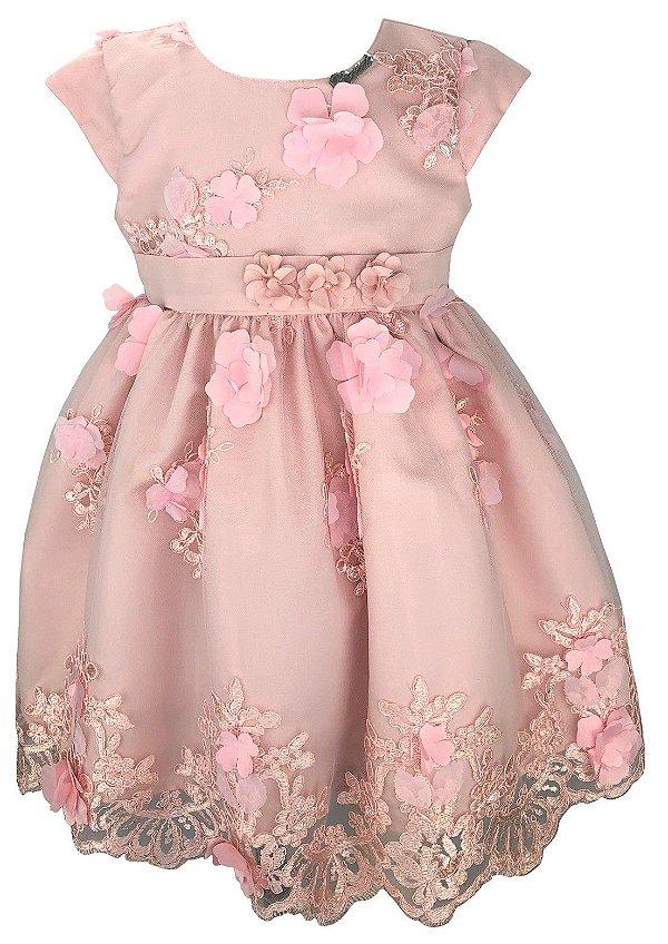 Vestido Infantil Rosa Renda Flores 3D