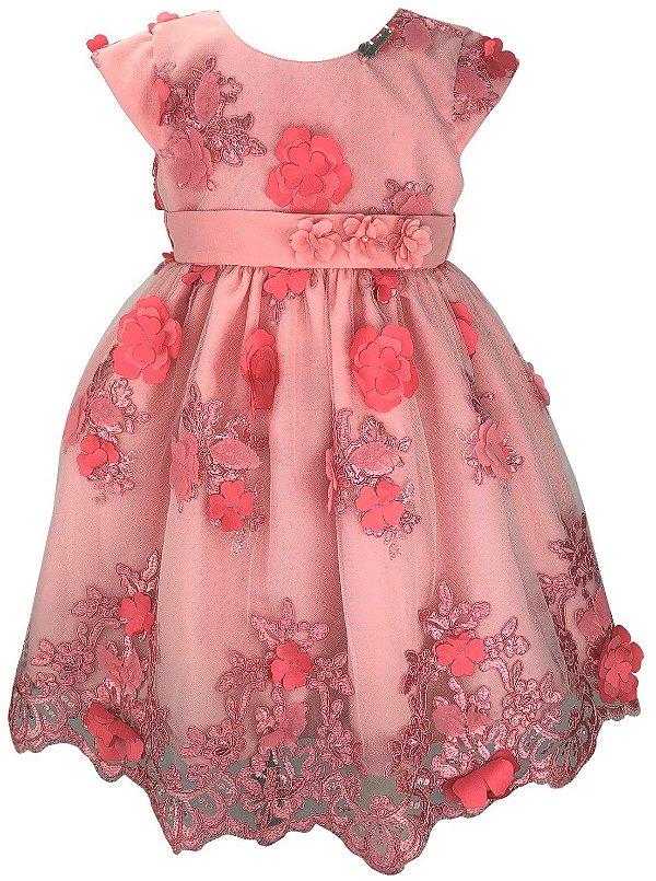 Vestido Infantil Rose Renda Flores 3D