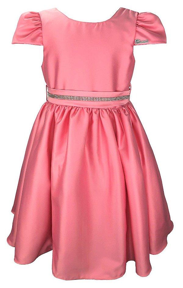 Vestido Teen Rosa com Cinto de Strass