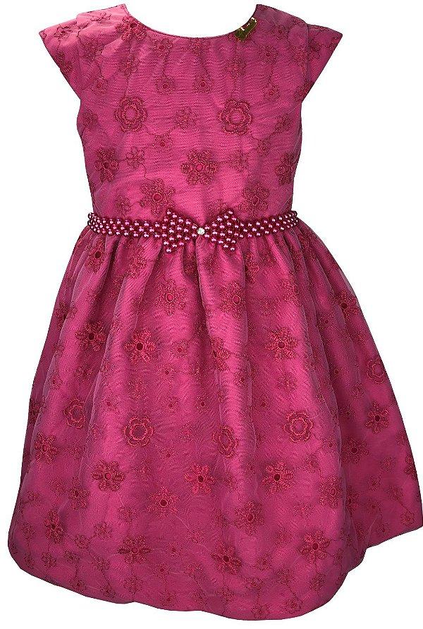 Vestido Juvenil Pink de Renda e Cinto de Pérolas