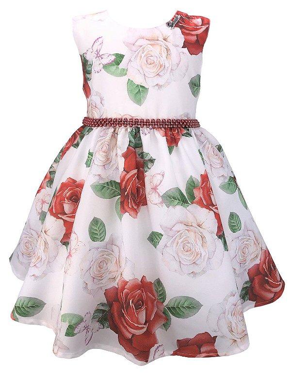Vestido Infantil Floral Rosas Vermelhas