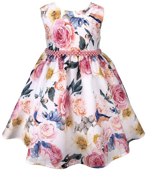 Vestido Infantil Flores e Pássaros
