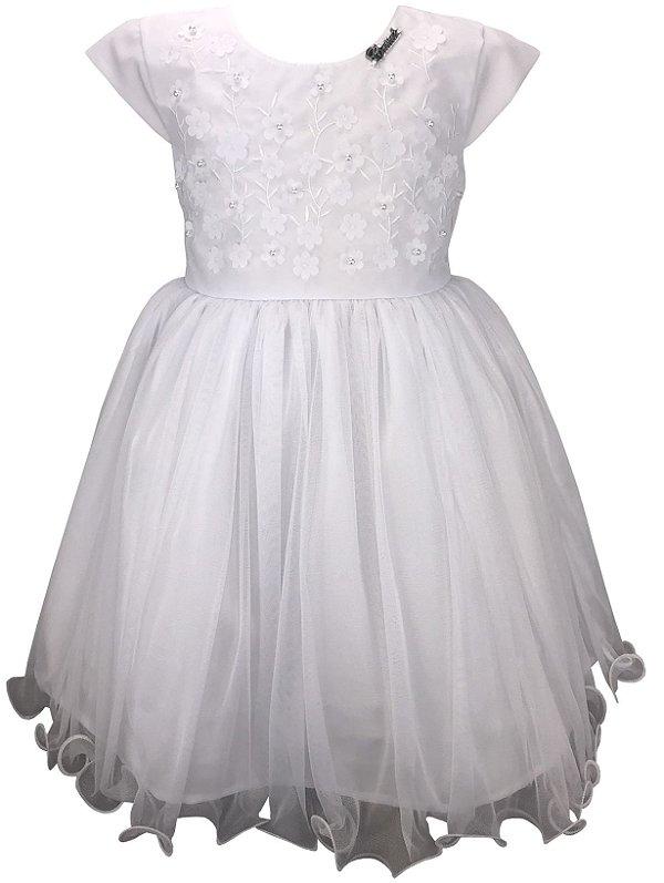 Vestido Infantil Branco com Flores Aplicadas