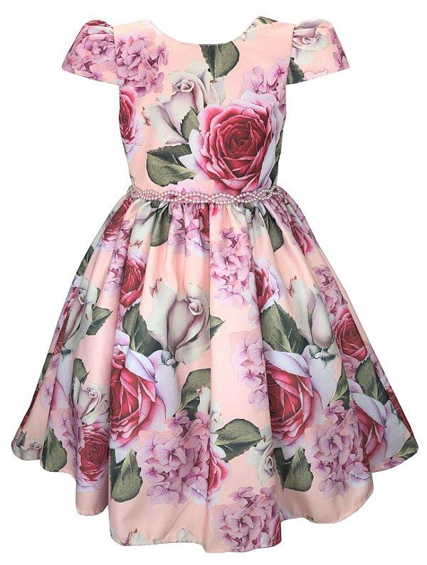 Vestido Juvenil Floral Rosa