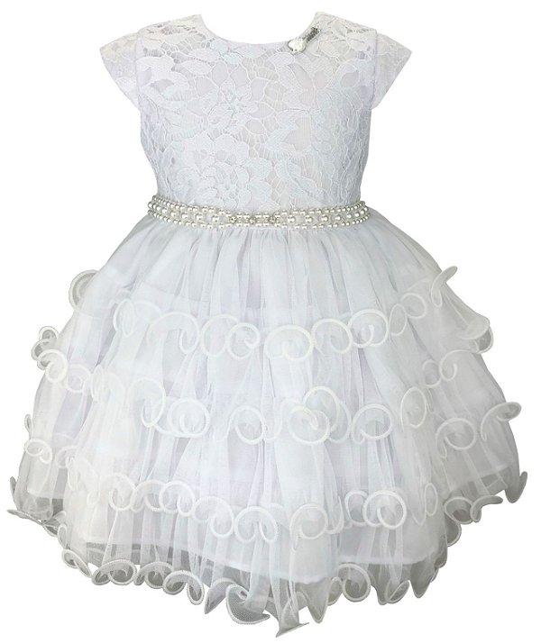 Vestido Bebê Branco Saia de babados