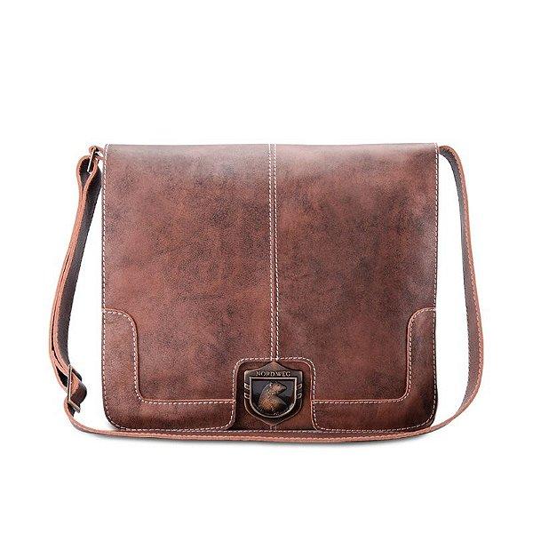 Bolsa Em Couro Para Notebook : Bolsa masculina para notebook estilo carteiro nordweg em