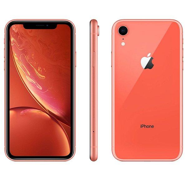 "iPhone XR Coral Apple | Tela Retina 6,1"", 4G, 64GB e Câm. Dupla 12MP - Resistente à Água"