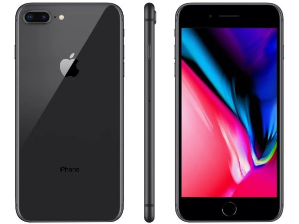 "iPhone 8 Plus Cinza Espacial Apple 64GB | Tela Retina 5,5"" - Câm. Dupla 12MP - Resistente à Água"