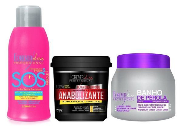 Forever Liss Kit Banho de Pérola + Fortificante + SOS (3pc)