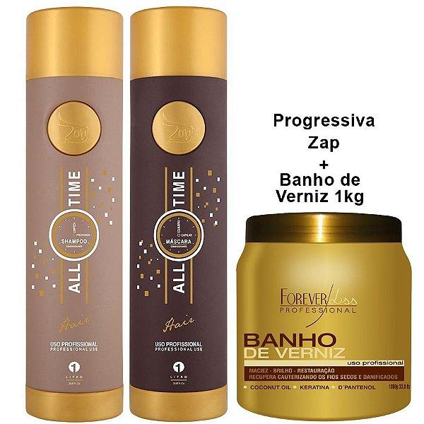 Escova Progressiva Zap All Time + Banho de Verniz 1kg Forever Liss