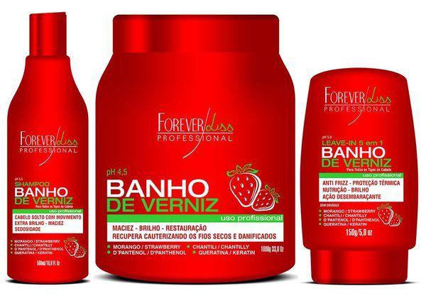 Forever Liss Kit Banho de Verniz Morango c/ Mascara 1kg (3 Produto)