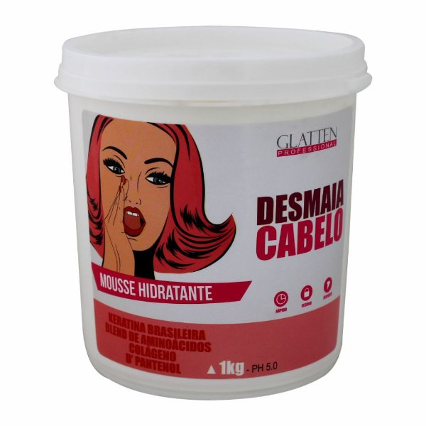 Desmaia Cabelo Mousse Hidratante Glatten 1kg
