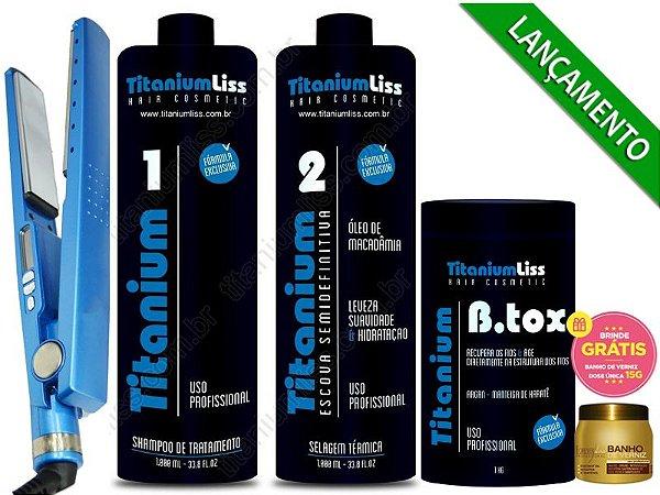 Kit Semi Difinitiva Titanium Liss 2X1LT+btx 1kg + Chapinha Titanium