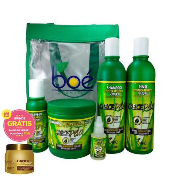 Boé Kit Crece Pelo 5 itens c/ Bolsa + Ampola (+Bolsa Grátis)