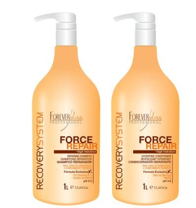 kit force repair shampoo e condicionador 2x1 litro forever liss