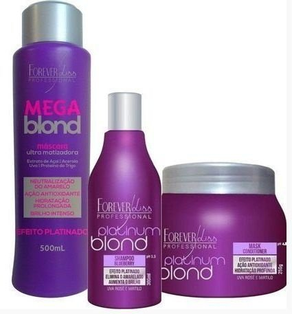 Forever Liss - Kit (Platinum Blond Shampoo + Platinum Blond Máscara + Mega Blond 500ml)
