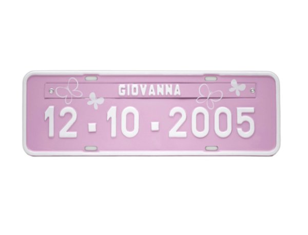 Placa de carro personalizada - Rosa