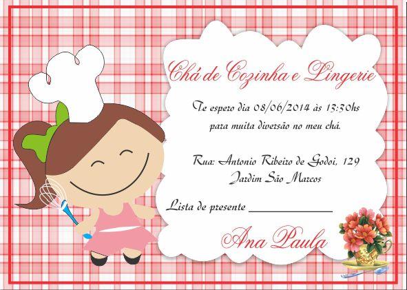 Chá De Cozinha Chá De Casa Nova Convite Chá Casa Nova Convites
