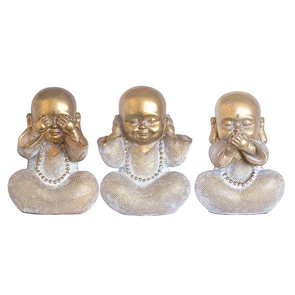 Trio Buda Sabedoria Dourado