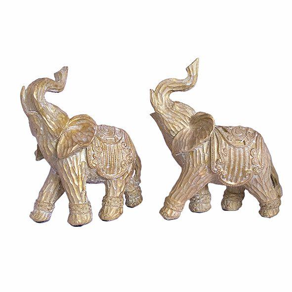 Casal de Elefante Dourado Médio