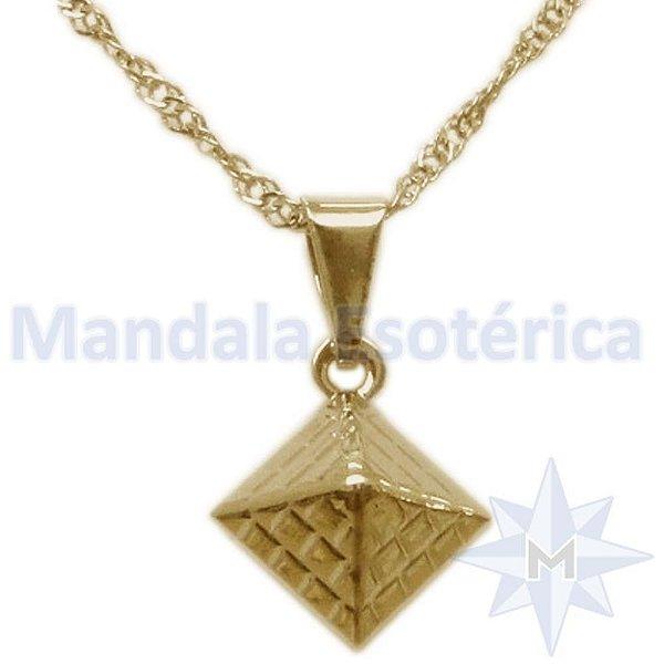 Gargantilha Pirâmide 8mm Banho de Ouro