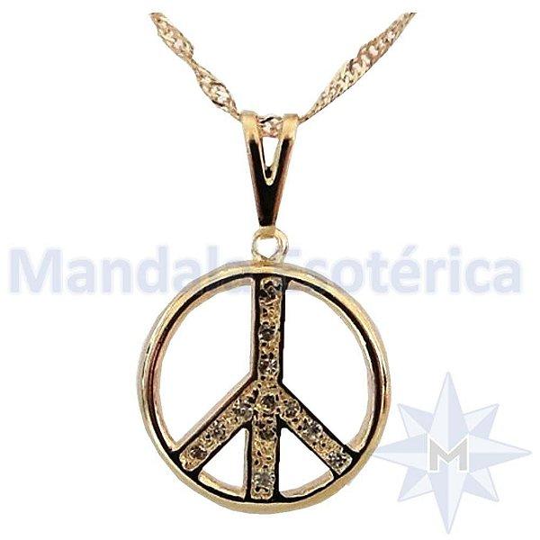 Gargantilha Símbolo da Paz com Strass Banho de Ouro