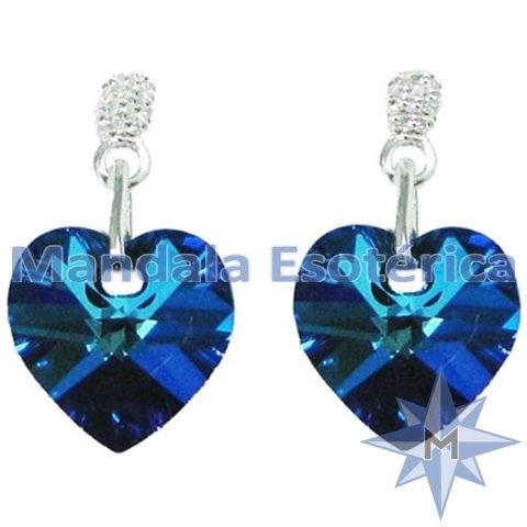 c7a72e3bec56a Brinco Coração Bermuda Blue - Azul Escuro - Mandala Esotérica - Atacado