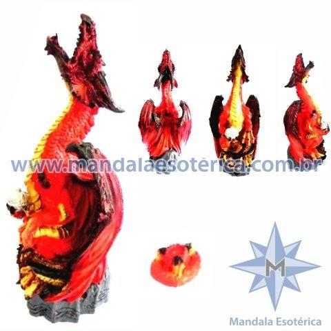Dragão Alado Vermelho com Incensário