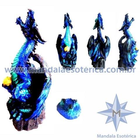 Dragão Alado Azul com Incensário