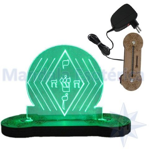 Luminária Bivolt com Base de MDF e Luz de LED Verde Yoshua
