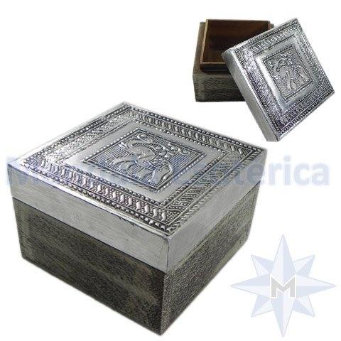 Caixa em madeira tampa revestida em Alumínio Estampa de Elefante